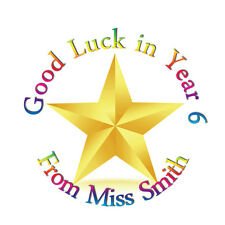 35 Personalised good luck Stickers Labels - school - nursery - Teacher - star