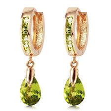 3.9 Carat 14K Solid Rose Gold Huggie Earrings Dangling Peridot
