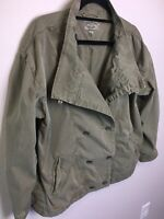 Lucky Brand Army Green Jacket Size L 100% Cotton Oversized Double Breasted Pkts