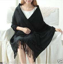 Fashion Women's Classic Black 100% Cashmere Soild Pashmina Warm Shawl Scarf