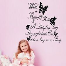 2015 Girls With A Butterfly Kiss&Ladybug Hug Quote Art Wall Sticker Decal Decor
