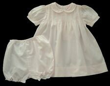 Girls PETIT AMI Pink Pintucked Hand Embroidered Dress Set 6m Bloomers Gown Twins