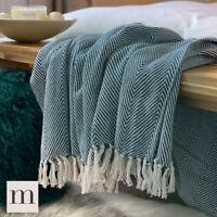 Eco Friendly Cotton Teal Blue Green Large Herringbone Sofa Throw Blanket Bed