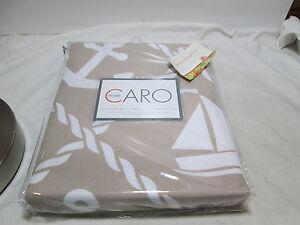 New Caro Home NAUTICAL Shower Curtain ~ Tan/White Sailboats, Anchors, Ship Wheel