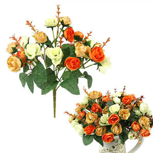 Artificial Rose Silk Flower Leaf 21 Heads Wedding Bridal Party Home Decor New