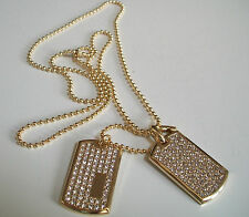 "Men's Gold Plated CZ Iced Out Double Dog Tag Pendant 27"" Ball Chain Necklace"