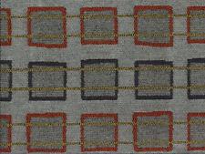 Designer Drapery Upholstery Fabric Chenille Geometric Squares - Orange / Gray
