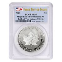 2019 1 oz Modified Proof Silver Maple PCGS PF 70 FDOI (Pride of Two Nations)