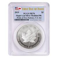 Sale Price- 2019 1 oz Modified Silver Maple PCGS PF 70 FDOI Pride of Two Nations