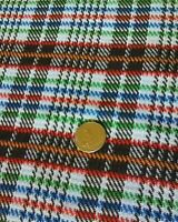 Vintage plaid mid century retro abstract polyester fabric huge remnant w/tag!
