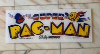 "23- 9"" ORIGINAL SUPER PAC MAN PLEXI sign marquee ARCADE VIDEO GAME PART FL-6"