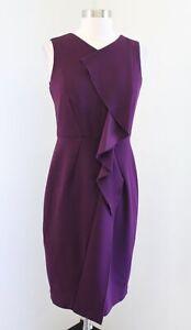Calvin Klein Plum Purple Ruffle Front Sheath Dress Size 2 Career Sleeveless