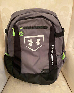 PREOWNED UNDER ARMOR STORM HEAT GEAR BACK PACK MULTIPLE POCKETS GRAY/LIME GREEN