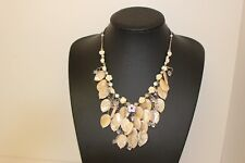 Handmade Mother of Pearl and Crystal Statement Necklace Accessories Fashion