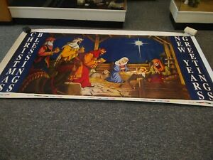 """Christmas Nativity Scene Vinyl decal Sticker Banner Indoor Outdoor 56"""" x 100"""""""