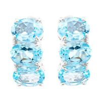 EARTH MINED 8X6MM SKY BLUE TOPAZ NATURAL GEMSTONE STERLING SILVER 925 EARRING