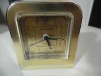 """Vintage Bulova 70's or 80's  Quartz alarm clock.3 1/2"""" tall Made in West Germany"""