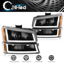 For 2003-2006 Chevy Silverado Black/Amber Headlight/lamp Assembly W/ Led Drl Us