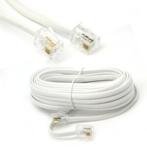 25m Meter RJ11 to RJ11 ADSL BT Broadband Phone Lead Modem Router Cable WHITE
