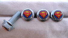 Superman License Plates Screws, Superman Comic Hero Logo Plate Screws , Superman