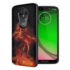 Cute Black Case Motorola Moto G7 Play / G7 Optimo XT1952 - Fire Horse