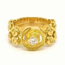 Authentic Lanvin Ring Band 750 Yellow Gold 18K Diamond 0.20 ct US 6 Women Ladies