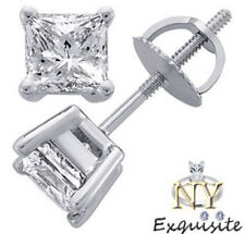 CERTIFIED .50ct 1/2ct F/VS2 PRINCESS-CUT DIAMONDS IN 14K GOLD STUDS EARRINGS