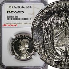 Panama Proof 1973 1/2 Balboa NGC PF67 CAMEO Mint-17,000 KM12b
