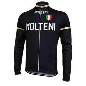 Team Molteni Retro Cycling Long Sleeve Eddy Merckx blk Pro Clothing Vintage Bike