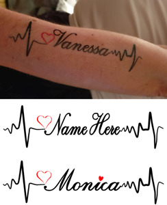 Heart Pulse Forearm Personalised Name Tattoo