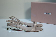 sz 10 / 40 Miu Miu Nude Patent Leather Mirror Crystal Wedge Low Heel Sandal Shoe