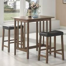 3 Pc Nut Brown Counter Height Bar Table and Stool Dinette Set by Coaster  130004