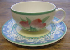 Villeroy Boch Perugia Cup Saucer Set Teacup Tulips Yellow Green Blue Beautiful