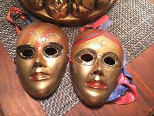 2 VINTAGE SOLID BRASS WALL DECOR PAINTED FACE MASK ART