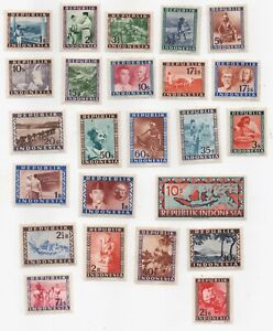 1947-1949 Indonesia Vienna Issues Assortment MH ~ 24 Stamps! Lots of Scans