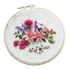 DIY Needlework Kits with Embroidery Hoop Cross Stitch Craft Flower Pattern