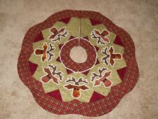"Handmade Applique ~ 42"" Tree Skirt🎄~ Rudy the Red Nose Reindeer ~ Completed"