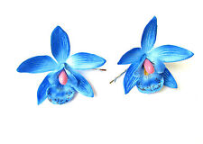 2 x Blue Orchid Flower Hair Grips Clips Hawaiian Festival Bobby Pins Slides 2131