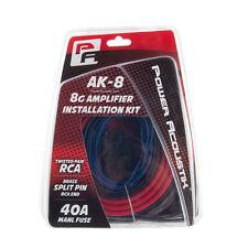 Power Acoustik AK-8 8 Gauge Amplifier Wiring Kit 8g AMP Wire w/ MANL Fuse + RCA