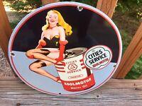 "Vintage Cities Service Kool Motor Oil Heavy Porcelain Sign 12"" Gas & Oil Sign"
