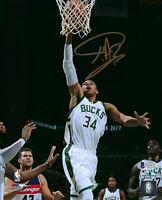 BUCKS Giannis Antetokounmpo signed 8x10 photo JSA COA AUTO Autographed MVP Dunk