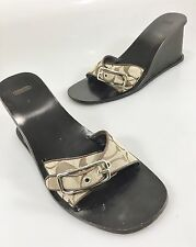 """Coach Womens 8 B Honey Brown Signature Buckle 3"""" Black Wood Wedge Sandals Italy"""