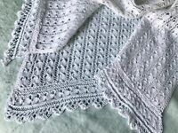 """Antique Fine Hand Knitted Lace Baby Bassinet Cover White Cotton 61cm / 24"""""""