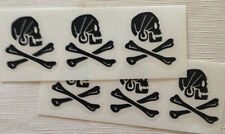 "SKULL AND CROSSBONES HENRY AVERY PIRATE DECAL STICKER VINYL 1 1/2"" X 1"" Qty-6"