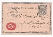 1903 Colombia 2c Coat of Arms Postal Card Revalued to 5c, to East Syracuse NY