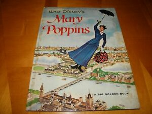 "Mary Poppins Big Golden Book 1964 Great Art 9.5 x 13 ""B""2nd Print VG+"