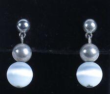 White dangle earrings drop ball glass round silver tone pierced estate costume