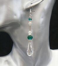 Long Acrylic Crystal Tear Drop Emerald Green Rondelle Beads 9cm Pierced Earring