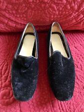 "Black Velvet Loafers 6B 1/2"" Heel Very Gently Worn"