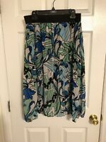 LuLaRoe XL Lola Skirt,white Blue Green black  Floral Print, NWOT THINK SPRING
